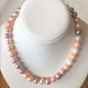11mm+ Hand Knotted Multi-Color Pearls Strand-14KGF